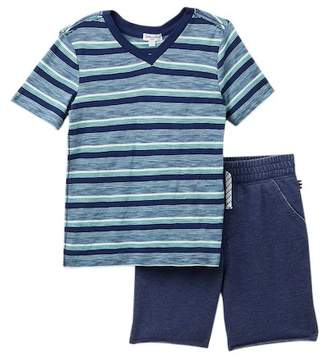 Splendid Stripe V-Neck Tee & French Terry Shorts (Little Boys)