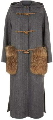 Max Mara Fur Trim Wool Duffel Coat