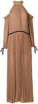 Self-Portrait cold-shoulder pleated dress