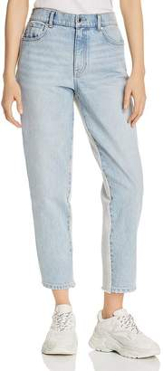 Alexander Wang Ride Clash Mixed-Media Crop Tapered Jeans in Bleach/Heather Gray