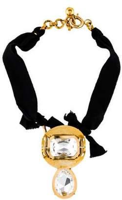 Lanvin Crystal & Ribbon Statement Necklace