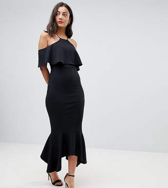 Asos Tall TALL Ruffle Cold Shoulder Asymmetric Pephem Midi Dress