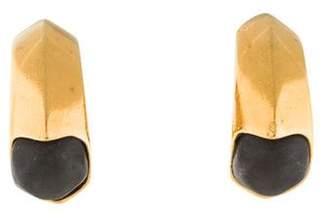 Chanel Stone Clip-On Hoop Earrings