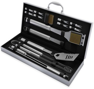 BBQ Grill Tool Set- 16 Piece High Quality Stainless Steel Barbecue Grilling Accessories with Aluminum Case, Spatula, Tongs, Skewers By Home-Complete