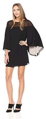 Halston Women's Flowy Sleeve Sheer Yoke Color Blocked Dress