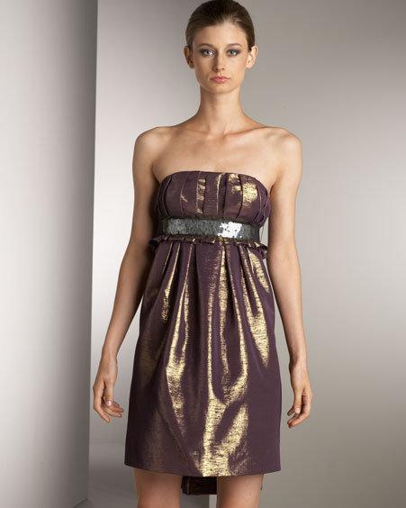 Lavender Label Vera Wang Strapless Metallic Dress
