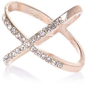 River Island Rose gold tone rhinestone kiss ring