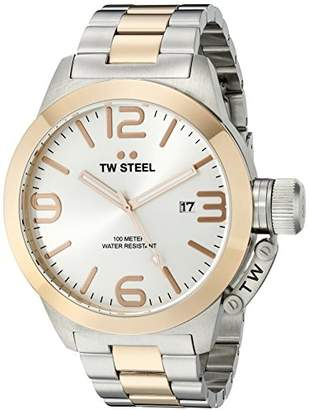 TW Steel Canteen Unisex Quartz Watch with Silver Dial Analogue Display and Silver Stainless Steel Bracelet CB122