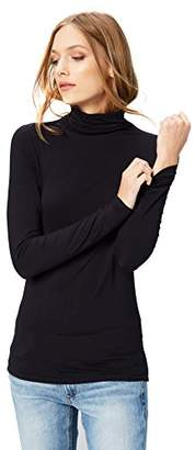 Daily Ritual Women's Rib Knit Jersey Long-Sleeve Funnel-Neck Shirt