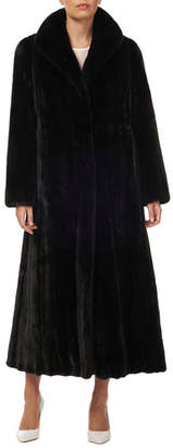 Gorski Directional Mink Fur Silk Taffeta Long Coat