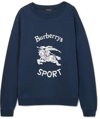 Burberry Flocked Cotton-blend Jersey Sweatshirt - Navy