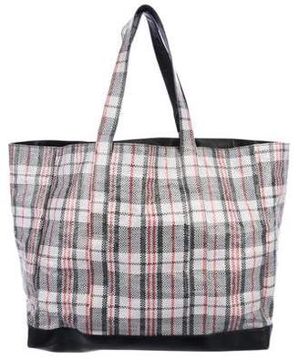 Helmut Lang Re-Edition Woven Plaid Shopping Bag