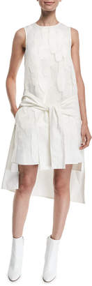 PASKAL clothes Layered Tie-Front Sleeveless High-Low Shift Dress
