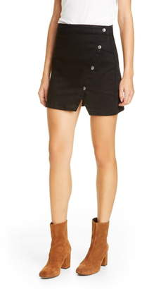 Free People Notched Side Button Denim Miniskirt
