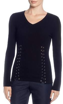 T Tahari Ribbed Lace-Up Sweater