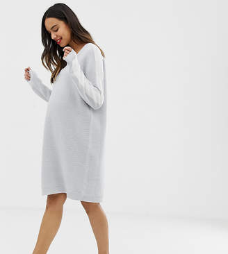 Asos DESIGN Maternity knitted dress with V neck and tipping