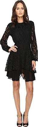 Just Cavalli Women's Leo Lace Long Sleeve Dress Tiered Skirt