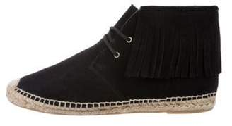 Saint Laurent Suede Round-Toe Ankle Boots Black Suede Round-Toe Ankle Boots