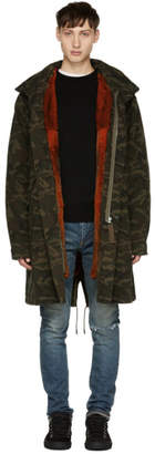 Yves Salomon Green Camo Fur-Lined Mid-Length Parka