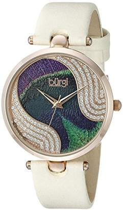Burgi Women's Pure Elegance Crystal-Studded Watch with Peacock Feather Pattern Dial and Beige Leather Strap BUR131WTR
