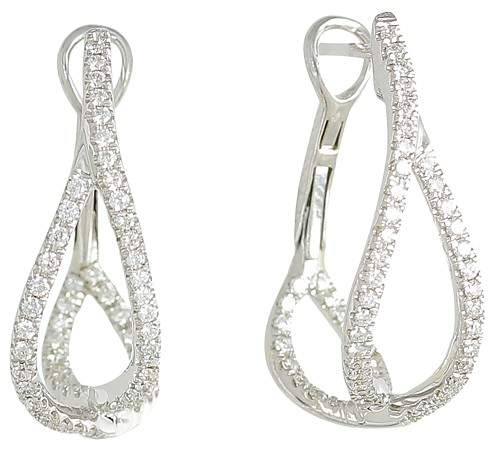 Frederic Sage 18K White Gold Diamond Small Crossover Hoop Earrings
