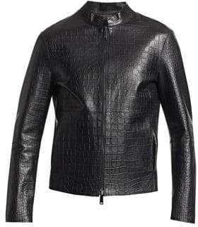Emporio Armani Men's Faux Crocodile Leather Jacket - Black - Size 58 (48)