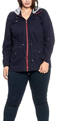 Women's Plus Size Anorak Cotton Jacket with Removable Colorblock Fleece Hood and Waist Drawstring