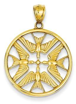 Black Bow Jewelry Company 14k Yellow Gold Doves Circle Pendant, 22mm