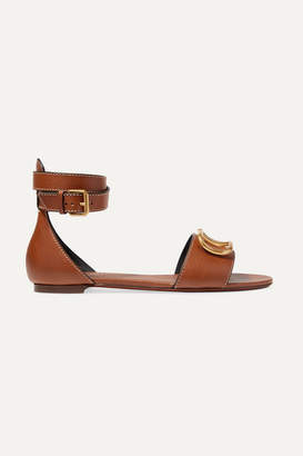 Valentino Garavani Go Logo Leather Sandals - Tan