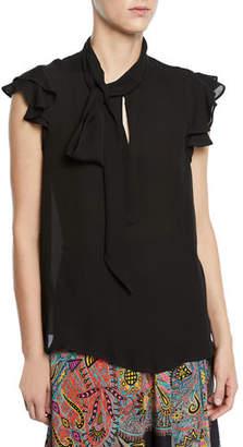 Etro Tie-Neck Tiered Ruffle-Sleeve Silk Blouse