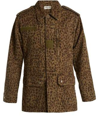 Saint Laurent Leopard Print Denim Jacket - Womens - Leopard