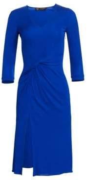 Versace Ruched V-Neck Dress