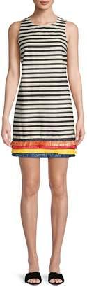Nicole Miller New York Women's Striped Frayed Cotton Shift Dress
