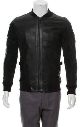 Helmut Lang Leather Mesh-Accented Bomber Jacket
