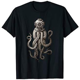 Retro SCUBA Diver Weird Octopus T-shirt Men Women Kids