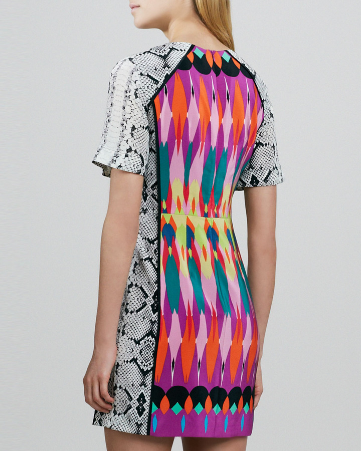 Nanette Lepore Fun House Mix-Print Dress