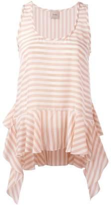 Nude striped soft peplum vest