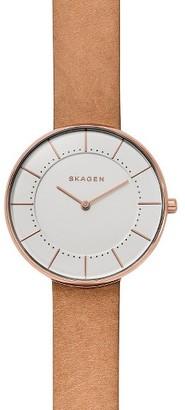 Women's Skagen Gitte Leather Strap Watch, 38Mm $77 thestylecure.com