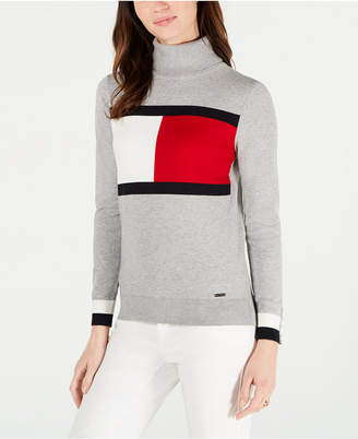 Tommy Hilfiger Cotton Flag Turtleneck Sweater