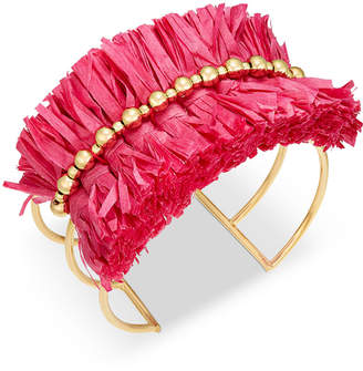 INC International Concepts I.n.c. Gold-Tone Bead & Raffia Triple-Row Cuff Bracelet