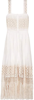 LoveShackFancy - Eve Fringed Embroidered Cotton-voile Midi Dress - White $345 thestylecure.com
