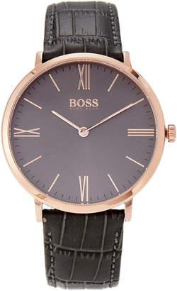 HUGO BOSS 1513372 Jackson Ultra Slim Rose Gold-Tone & Grey Croc-Embossed Watch