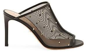 Valentino Women's Studded Peep-Toe Leather & Mesh Mules