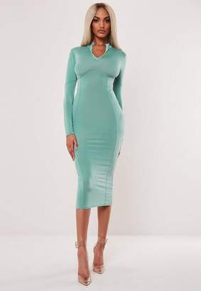 Missguided Teal Slinky Corset Detail Bodycon Midaxi Dress