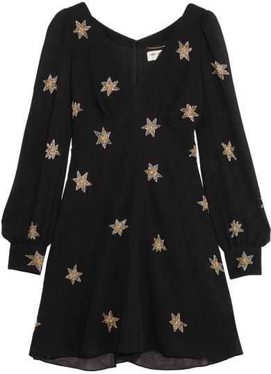 Saint LaurentSaint Laurent - Embellished Silk-georgette Mini Dress - Black