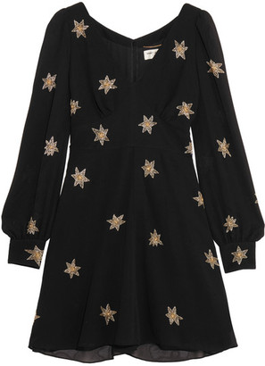 Saint Laurent - Embellished Silk-georgette Mini Dress - Black $4,990 thestylecure.com