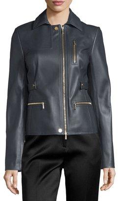 Jason Wu Zip-Pocket Lamb Leather Field Jacket, Charcoal $1,284 thestylecure.com