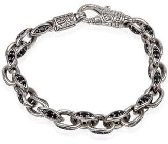 Konstantino Men's Plato Sterling Silver Link Bracelet with Black Spinel