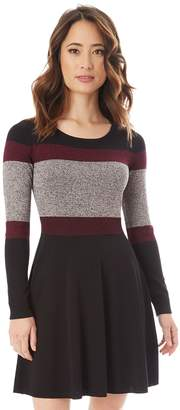 Iz Byer Juniors' Colorblock Skater Sweater Dress
