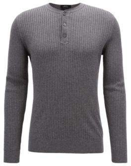 BOSS Hugo Slim-fit Henley sweater in a wool-cotton XL Grey